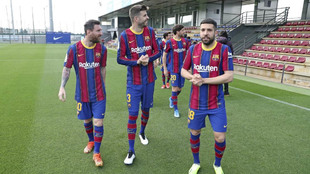 Messi, Piqué y Jordi Alba, en una imagen de la pasada temporada.