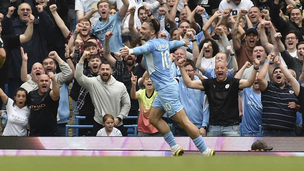 Grealish celebra su gol al Norwich.