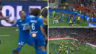 De auténtica vergüenza: los ultras del Niza lanzan objetos a los jugadores del OM, se defienden... y así se lía