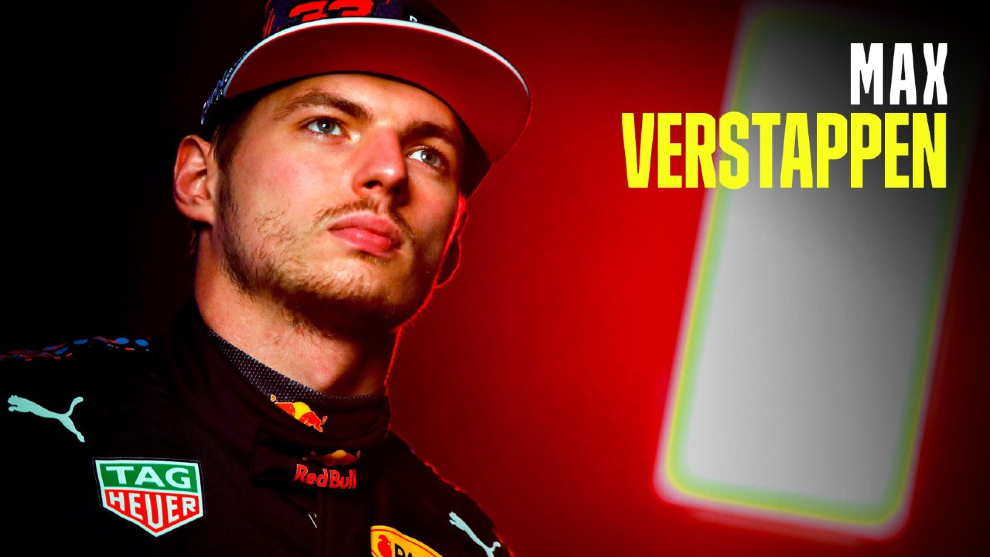 "Cartel de presentación de la entrevista a Verstappen titulada ""Alta Tensión""."