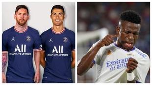 Messi, Cristiano Ronaldo y Vinícius Júnior.