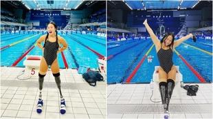 Haven Shepherd posa en la piscina olímpia de Tokio.