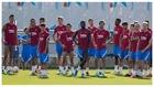 Los jugadores del Barcelona en un entrenamiento.