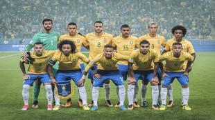 Un reciente once de la Selección brasileña.