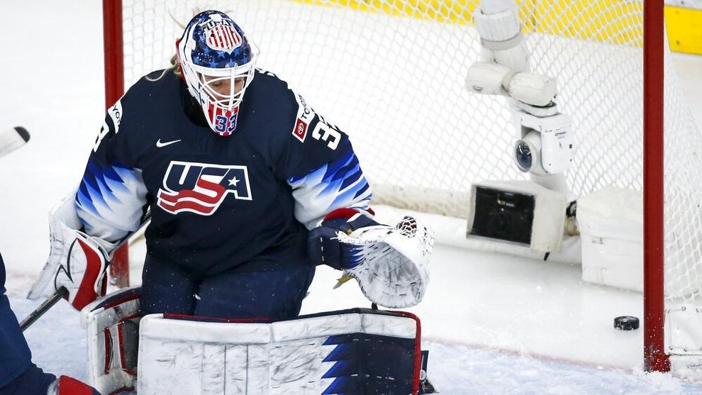 U.S. goalie Alex Cavallini gives up a goal to Canada.