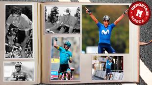 Montaje con varios ciclistas españoles victoriosos