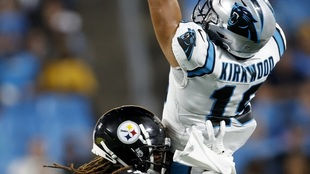 Pittsburgh Steelers' Pitts Lafayette, breaks up a pass intended...