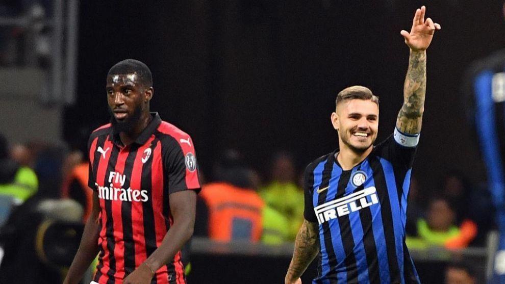 Bakayoko en un partido del Milan contra el Inter.