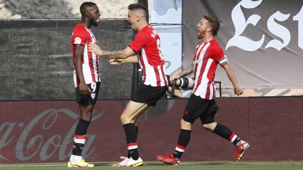 Iñaki Williams celebra un gol en Balaídos.