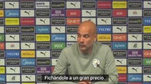 """Guardiola, encantado con su nuevo '9': """"Se mueve como los mejores delanteros del mundo"""""""