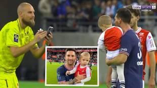 Ver para creer: el portero del Reims le pidió una foto a Messi... con su hijo