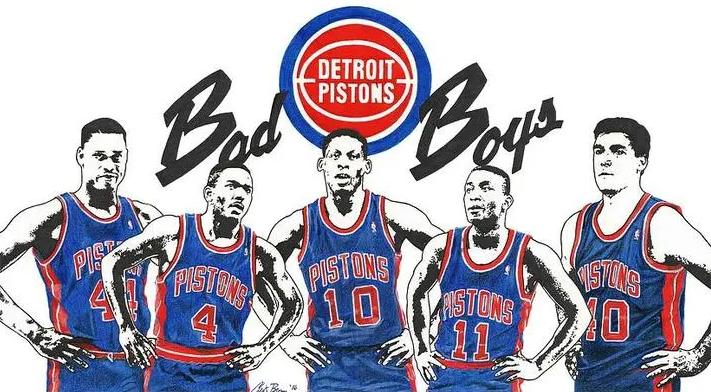 Mahorn, Dumars, Rodman, Thomas y Laimbeer, cinco de los Bad Boys de los Pistons
