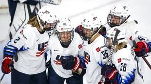 Alex Carpenter (25), of the United States, celebrates her goal against...