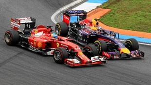 Alonso y Ricciardo en Alonso en Alemania 2014