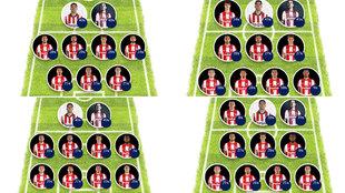 Algunos de los posibles onces que podría sacar el Atlético