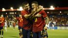 Yéremi Niño celebra el segundo gol de España