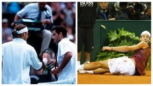 Federer saluda a Sampras y Nadal, en la arena de la Cartuja