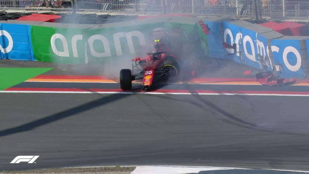 Accidente de Sainz, que deja el Ferrari visiblemente tocado