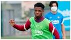 Ansu Fati, en un entrenamiento del Barcelona.