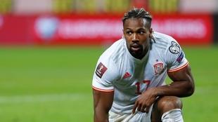 Adama, durante el partido ante Suecia.