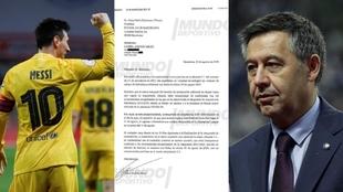 Desvelan el burofax de Leo Messi a Bartomeu