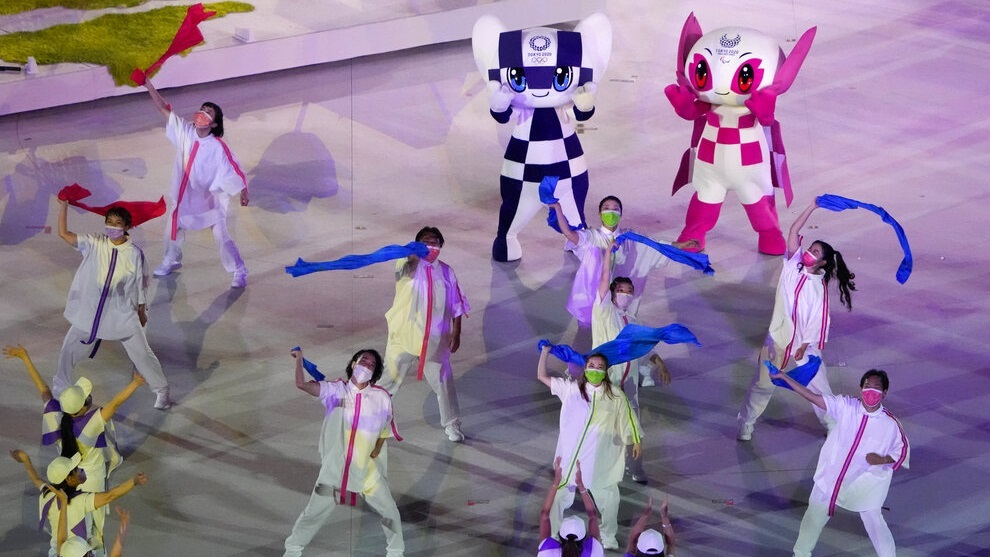 Dancers perform during the closing ceremony for the 2020 Paralympics.