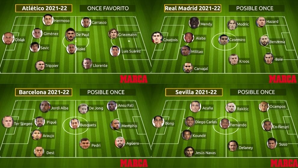 Onces de Atlético de Madrid, Real Madrid, Barcelona y Sevilla.
