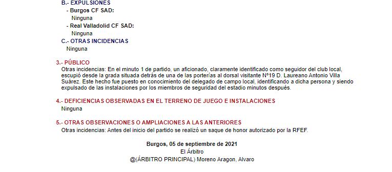 Acta arbitral del partido Burgos- Valladolid.