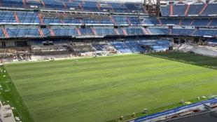 Las obras del Bernabéu avanzan a contrarreloj: ¡ya está el césped al completo!