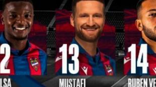 Mustafi lucirá el dorsal 13 del Levante por la falta de vacantes en...