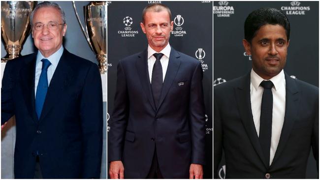 Florentino, Ceferin y Al Khelaifi.