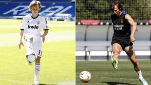 Luka Modric, en su presentación y en una imagen reciente
