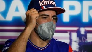 Alonso, durante la rueda de prensa de hoy en Monza.