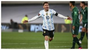 Messi celebra el primer tanto ante Bolivia