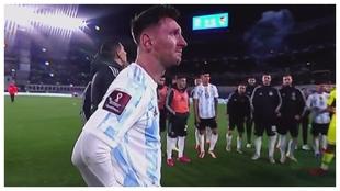 Leo Messi emocionado en el Monumental