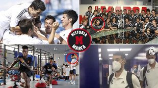 Boto, arriba como jugador del Castilla, abajo como fisio del Madrid