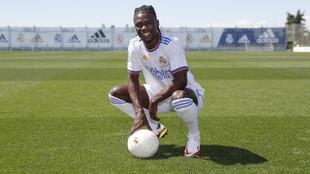 Camavinga, en su presentación con el Real Madrid.