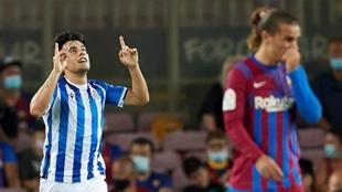 Lobete celebra el gol que marcó en la primera jornada al Barcelona.