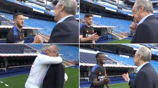 Los saludos de Florentino a los jugadores: los hay más cariñosos y menos... pero el de Bale no salió