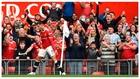 Cristiano Ronaldo celebra su primer gol con el Manchester United.