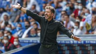 Simeone durante el encuentro frente al Espanyol.