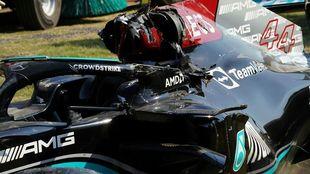 Lewis Hamilton's car at Monza after the crash