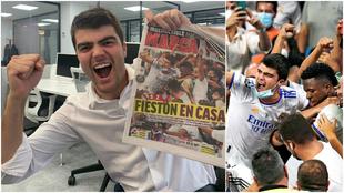 El aficionado madridista posa con la portada de MARCA.