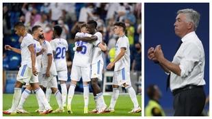 Un montaje con una imagen de los jugadores del Real Madrid celebrando...