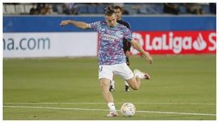 Bale, durante el calentamiento previo a un partido.