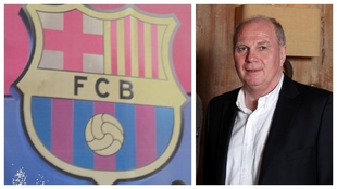 Un montaje con una imagen del escudo del Barcelona y otra de Uli...