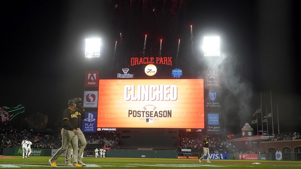 Fireworks go off behind the scoreboard at Oracle Park after the San Francisco Giants.