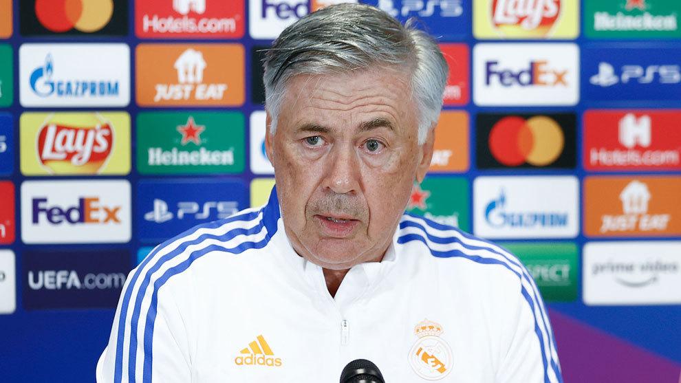 Ancelotti, durante la rueda de prensa