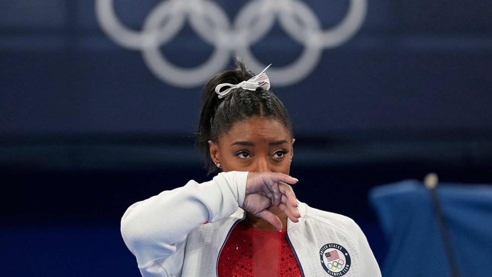 Simone Biles durante los Juegos de Tokio.