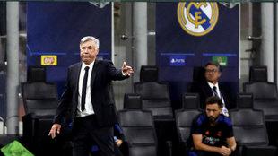 Carlo Ancelotti, durante el partido ante el Inter.